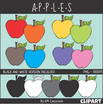 Apples in Rainbow Colors Fruit Food ClipArt