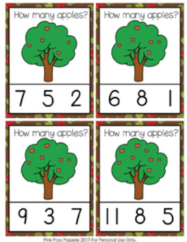 Apples in Trees Count and Clip Cards Numbers 1-12