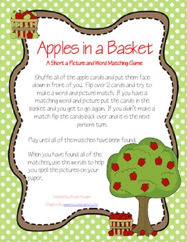 Apples in a Basket- A Short a Word/ Picture Matching Game