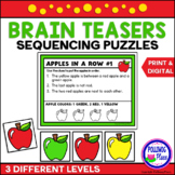 Apples in a Row Brain Teaser Sequencing Puzzles - Print an