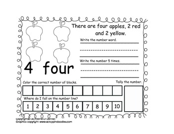 Apples in the Orchard 1-10 book: #, word, tally + more!