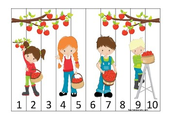 Apples themed 1-10 Number Sequence Puzzle Game. Printable Preschool