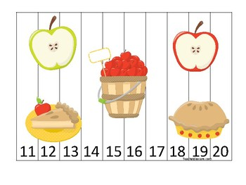 Apples themed 11-20 Number Sequence Puzzle Game. Printable Preschool
