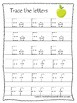 Apples themed A-Z Tracing Worksheets.Printable Preschool Handwriting