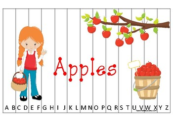 Apples themed Alphabet Sequence Puzzle Game. Printable Preschool Gam
