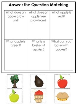 Apples themed Answer the Question Game.  Printable Preschool Game