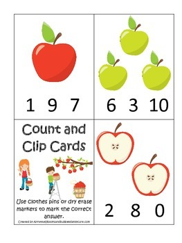 Apples themed Count and Clip preschool learning game.  Daycare learning.