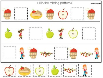 Apples themed Fill In the Missing Pattern Game. Printable Preschool