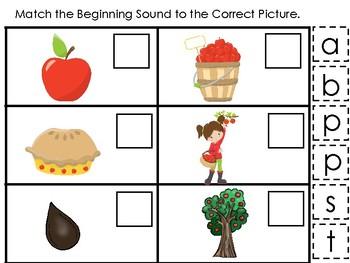 Apples themed Match the Beginning Sound Game. Printable Preschool Ga
