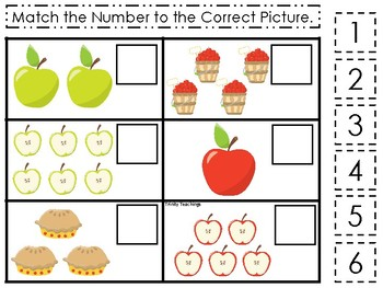 Apples themed Match the Number Game. Printable Preschool Ga