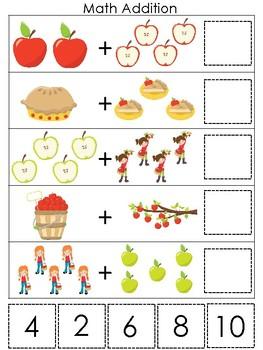 Apples themed Math Addition Game. Printable Preschool Ga