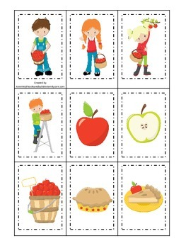 Apples themed Memory Matching preschool learning game.  Daycare learning.