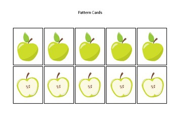 Apples themed Pattern Cards and Game Board. Printable Preschool Game