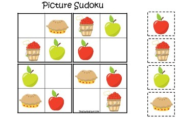 Apples themed Picture Sudoku Game. Printable Preschool Game