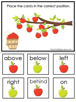 picture regarding Apples to Apples Cards Printable called Apples themed Positional Phrase Activity. Printable Preschool Match