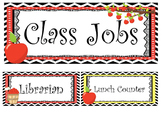 Apples themed Printable Class Jobs Labels Classroom Bulletin Board Set.