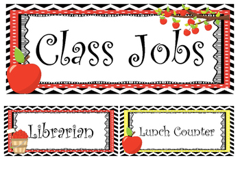 Apples themed Printable Class Jobs Labels Classroom Bullet