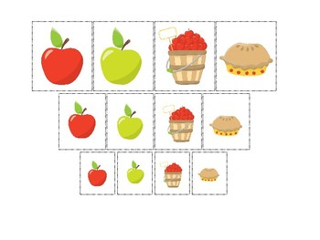 Apples themed Size Sorting. Printable Preschool Game