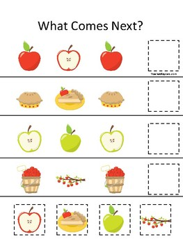 Apples themed What Comes Next. Printable Preschool Game