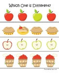 Apples themed Which One is Different. Printable Preschool Game