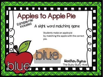 Editable Apples to Apple Pie Sight word game