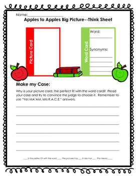 Apples to Apples Big Picture Think Sheet