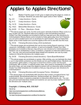 Apples to Apples ~ Following Directions!