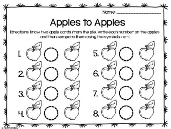 Apples to Apples (Greater Than/Less Than) FREEBIE