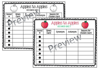 Apples to Apples Record Sheet