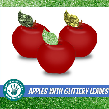 Apples with Glittery Leaves- FREEBIE