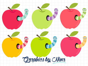 Apples with worm inside clipart