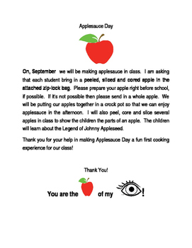 Applesauce Day in Honor of Johnny Appleseed