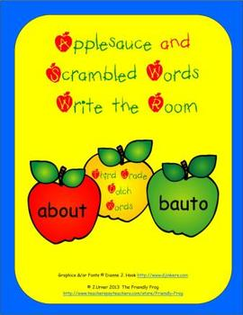 Applesauce & Scrambled Words Write the Room (Third Grade Edition)