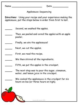 Applesauce Sequencing Activity/ How-To Writing