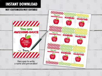 Applesauce Valentine's Day Card DIY Printable, Exchange Hang Tag Ideas