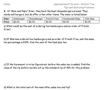 Applications of Percent- Tax, Tip, and Discounts Stations Activity