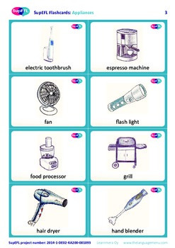 Appliances flashcards with English text