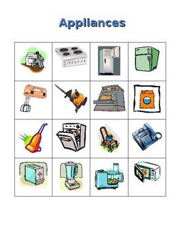 Appliances in English House Bingo game
