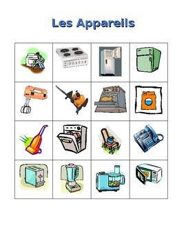 Appareils (Appliances in French) Maison Bingo game