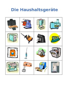 Haushaltsgeräte (Appliances in German) Bingo game