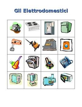 Elettrodomestici (Appliances in Italian) Bingo game