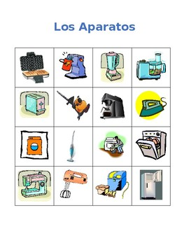 Aparatos (Appliances in Spanish) Bingo game