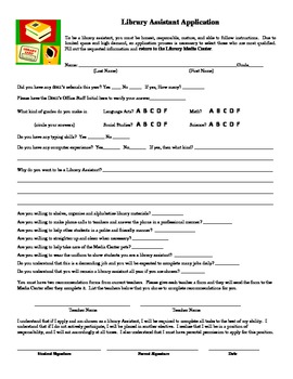 Application For Library Assistants (Includes Teacher Recommendation Form)