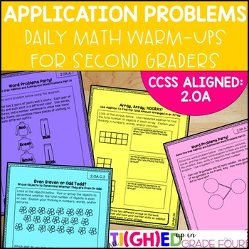Grade 2 CCSS Aligned Math Application Problems and Warm-Ups! {2.OA}