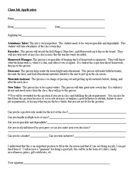 Application for Classroom Jobs