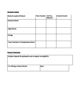 Application for Employment Practices Worksheet