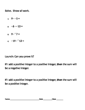 Integers 10 - Application for Subtracting Positive and Negative Integers