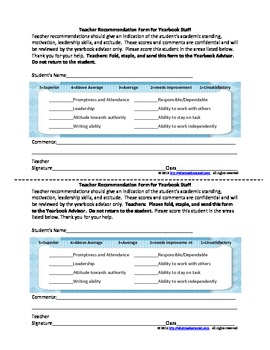 Application for Yearbook Staff (Includes Teacher Recommendation Form)