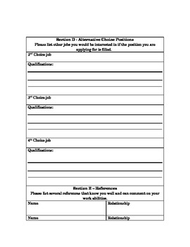 Application for classroom employment