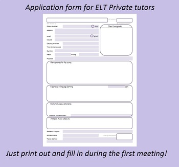Application form for private tutors